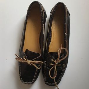 Sperry Topsider dark brown crocodile boat shoes 9M